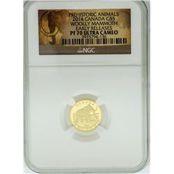 2014 $5 Canada Woolly Mammoth Gold Coin NGC PF70 Ultra Cameo