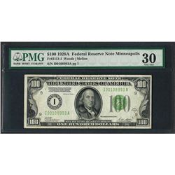 1928A $100 Federal Reserve Note Minneapolis Fr.2151-I PMG Very Fine 30
