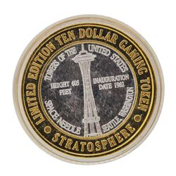 .999 Silver Stratosphere Las Vegas, Nevada $10 Casino Limited Edition Gaming Tok