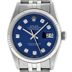 Rolex Men's Stainless Steel 36MM Blue Diamond Datejust Wristwatch