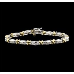 10KT Two Tone Gold 1.00 ctw Diamond Bracelet