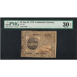 July 22, 1776 $7 Continental Currency Note CC-44 PMG Very Fine 30EPQ