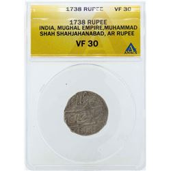 1738 India Rupee Mughal Empire Coin ANACS VF30