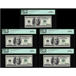 Lot of (5) Consecutive 2001 $100 Federal Reserve STAR Notes PCGS Gem New 66PPQ