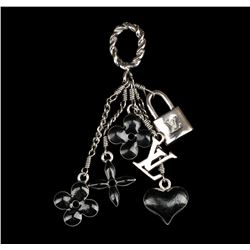 Louis Vuitton Black Flowers and Heart Charm Pendant Necklace