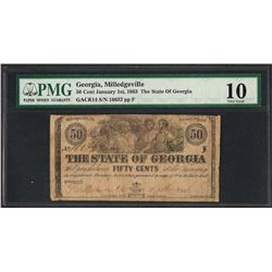 1863 50 Cent The State of Georgia Obsolete Note PMG Very Good 10