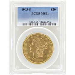 1903-S $20 Liberty Head Double Eagle Gold Coin PCGS MS61