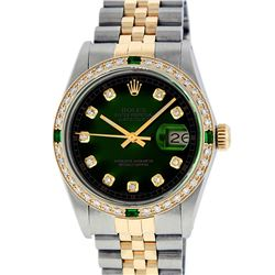 Rolex Men's Two Tone 14K Green Vignette Diamond & Emerald Datejust Wristwatch