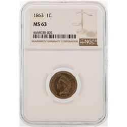 1863 Indian Head Cent Coin NGC MS63