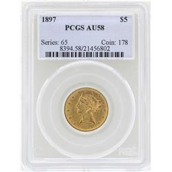 1897 $5 Liberty Head Half Eagle Gold Coin PCGS AU58