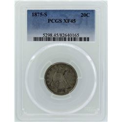1875-S Seated Liberty Twenty Cent Piece Coin PCGS XF45