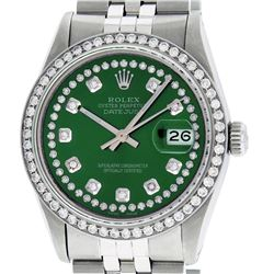 Rolex Men's Stainless Steel Green String Diamond 36MM Datejust Wristwatch