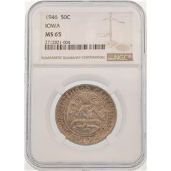 1946 Iowa Centennial Commemorative Half Dollar Coin NGC MS65