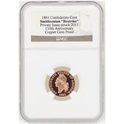 1861 Confederate Cent Smithsonian Restrike Copper Coin NGC Gem Proof