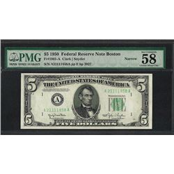 1950 $5 Federal Reserve Note Narrow Fr.1961-A PMG Choice About Uncirculated 58EP