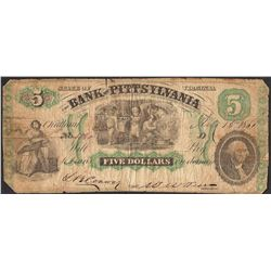1861 $5 The Bank of Pittsylvania Obsolete Note
