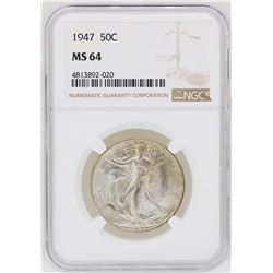 1947 Walking Liberty Half Dollar Coin NGC MS64