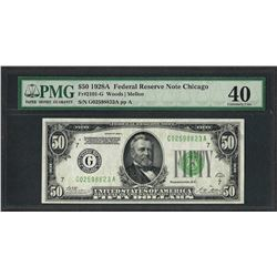 1928A $50 Federal Reserve Note Chicago Fr.2101-G PMG Extremely Fine 40