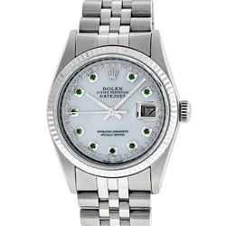 Rolex Men's Stainless Steel Mother Of Pearl Diamond & Emerald Datejust Wristwatc