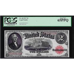 1917 $2 Legal Tender Note Fr.60 PCGS Gem New 65PPQ