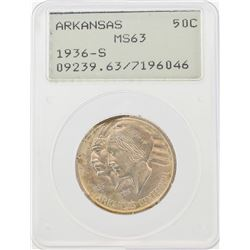 1936-S Arkansas Centennial Commemorative Half Dollar Coin PCGS MS63