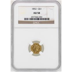 1852 $1 Liberty Head Gold Dollar Coin NGC AU58