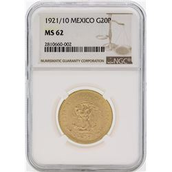 1921/10 Mexico 20 Pesos Gold Coin NGC MS62