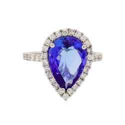 14KT White Gold 4.11 ctw Tanzanite and Diamond Ring
