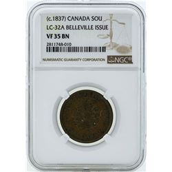 c. 1837 Canada Un Sou LC-32A Belleville Issue Coin NGC VF35BN