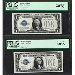 (2) Consecutive 1928B $1 Funnyback Silver Certificate Notes PCGS Very Choice New