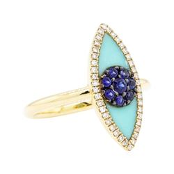 14KT Yellow Gold 0.16 ctw Sapphire and Diamond Evil Eye Ring