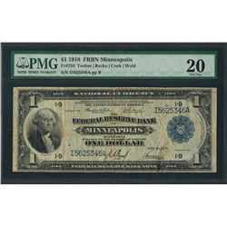 1918 $1 Federal Reserve Bank Note Minneapolis Fr.734 PMG Very Fine 20