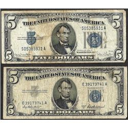 Lot of 1934D & 1953A $5 Silver Certificate Notes