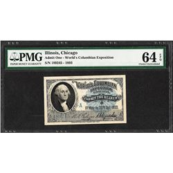 1893 World's Columbian Exposition Ticket PMG Choice Uncirculated 64EPQ