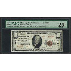 1929 $10 National Currency Note Minneapolis, Minnesota CH# 9409 PMG Very Fine 25