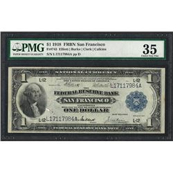 1918 $1 Federal Reserve Bank Note San Francisco Fr.745 PMG Choice Very Fine 35