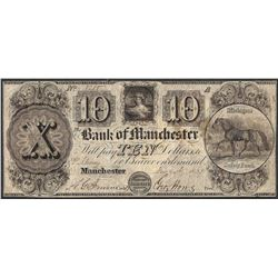 1837 $10 Bank of Manchester Obsolete Note