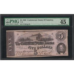 1862 $5 Confederate State of America Note T-53 PMG Choice Extremely Fine 45
