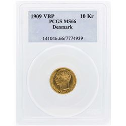 1909 VBP Denmark 10 Kroners Gold Coin PCGS MS66