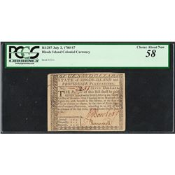 July 2, 1780 $7 Rhode Island Colonial Currency Note RI-287 PCGS Choice About New