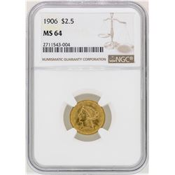 1906 $2 1/2 Liberty Head Quarter Eagle Gold Coin NGC MS64