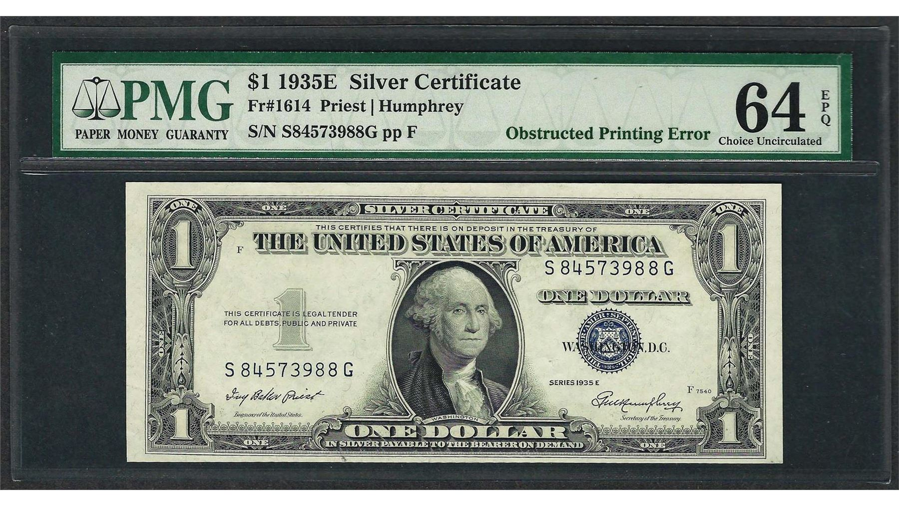 1935e 1 Silver Certificate Note Error Obstructed Printing Pmg Ch
