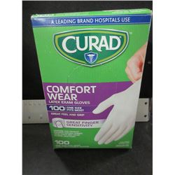 New Curad Latex Exam Gloves / 100 count / one size fits most