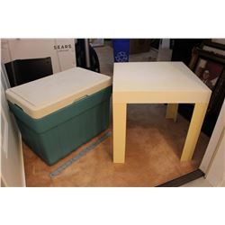 Igloo Cooler and Plastic Side Table (2)