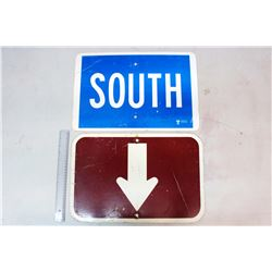 Road Signs (2)('South' & An Arrow Pointing Up or Down)