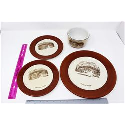 Medalta Canadian Rockies Plates (3) and a Medalta Canadian Rockies Bowl