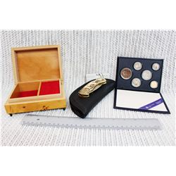 Musical Jewelery Box (Working), 1986 Canadian Coin Collection and Franklin Mint Collector's Knife