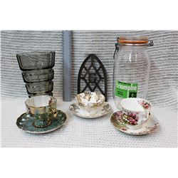 (3) Bone China Teacups and Saucers, Glass Canister and Misc Decor