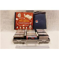 Case of Cassette Tapes, Record Collection of Gospel Classics and Vintage Learn to Speak French Set