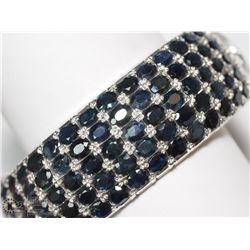 8) SILVER HINGED 275 SAPPHIRES BANGLE